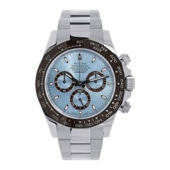 Rolex Cosmograph Daytona Platinum Ice Blue Dial Oyster Watch 116506