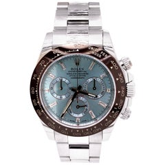 Rolex Cosmograph Daytona Platinum Ice Factory Blue Gem Index Dial Watch 116506