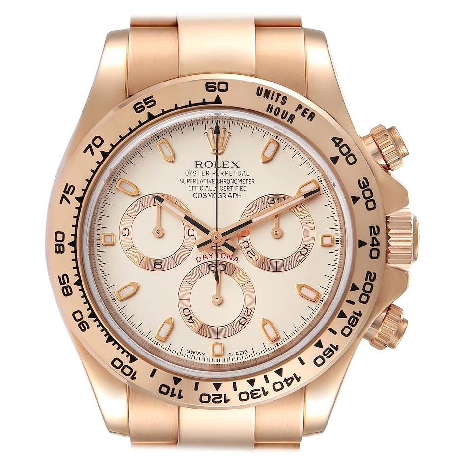 Rolex Cosmograph Daytona Rose Gold Everose Mens Watch 116505 Box Card