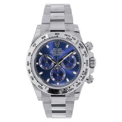 Rolex Cosmograph Daytona White Gold Blue Index Dial Watch 116509