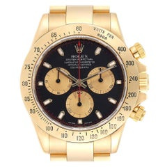 Rolex Cosmograph Daytona Yellow Gold Black Dial Men's Watch 116528