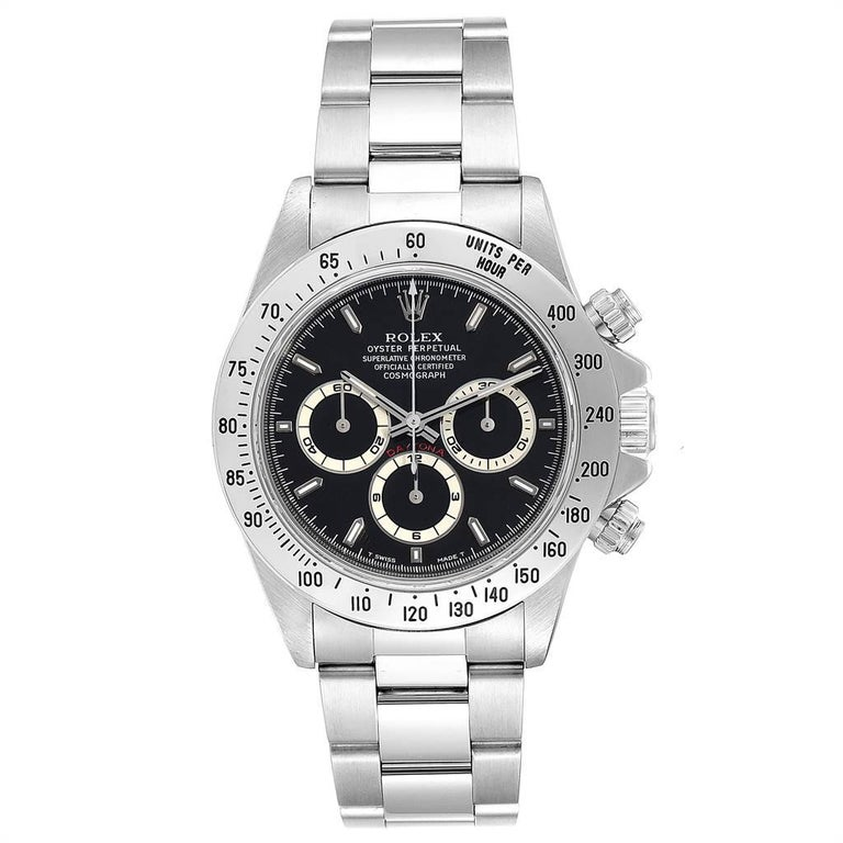 Rolex Cosmograph Daytona Zenith Movement Mens Watch 16520 Box Papers . Zenith authomatic self-winding chronograph movement. Stainless steel case 40.0 mm in diameter. Screw back, screw down crown, two round screw down chronograph buttons in the band.