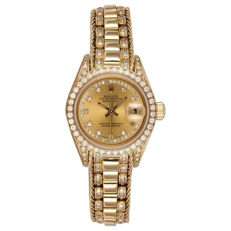 Rolex Crown Collection Ladies Datejust President 18 Karat Gold Diamond 69238 For Sale