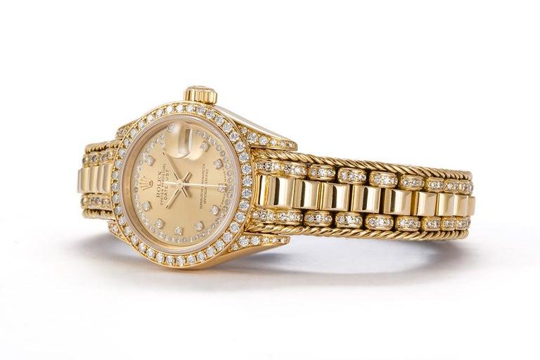 Contemporary Rolex Crown Collection Ladies Datejust President 18 Karat Gold Diamond 69238 For Sale