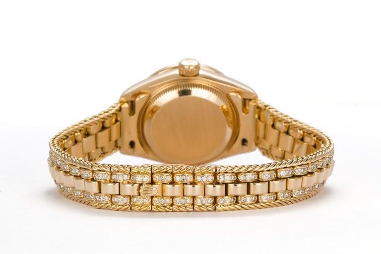 Round Cut Rolex Crown Collection Ladies Datejust President 18 Karat Gold Diamond 69238 For Sale