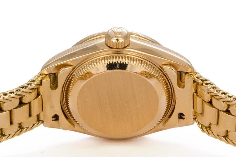 Women's Rolex Crown Collection Ladies Datejust President 18 Karat Gold Diamond 69238 For Sale