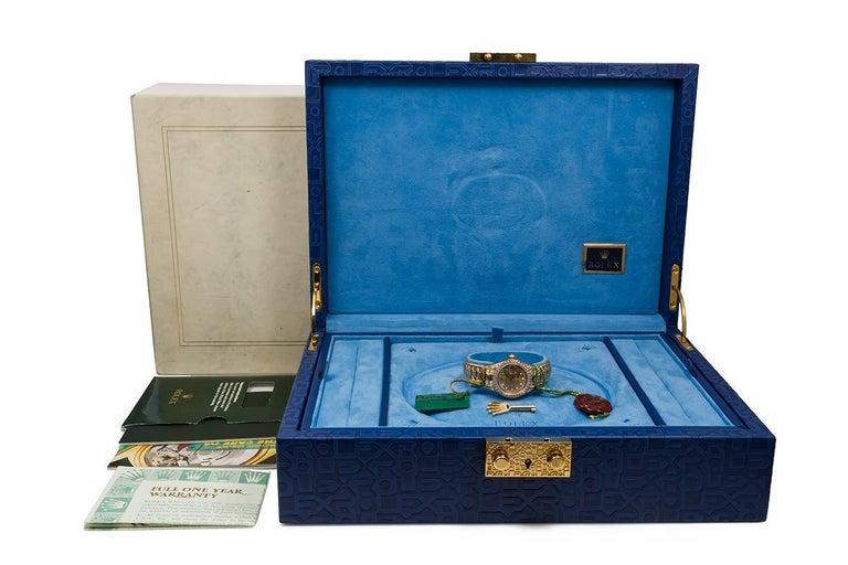 Rolex Crown Collection Ladies Datejust President 18 Karat Gold Diamond 69238 For Sale 3