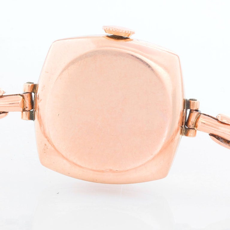 Women's Rolex Cushion Shaped Oyster Rose Gold Watch For Sale