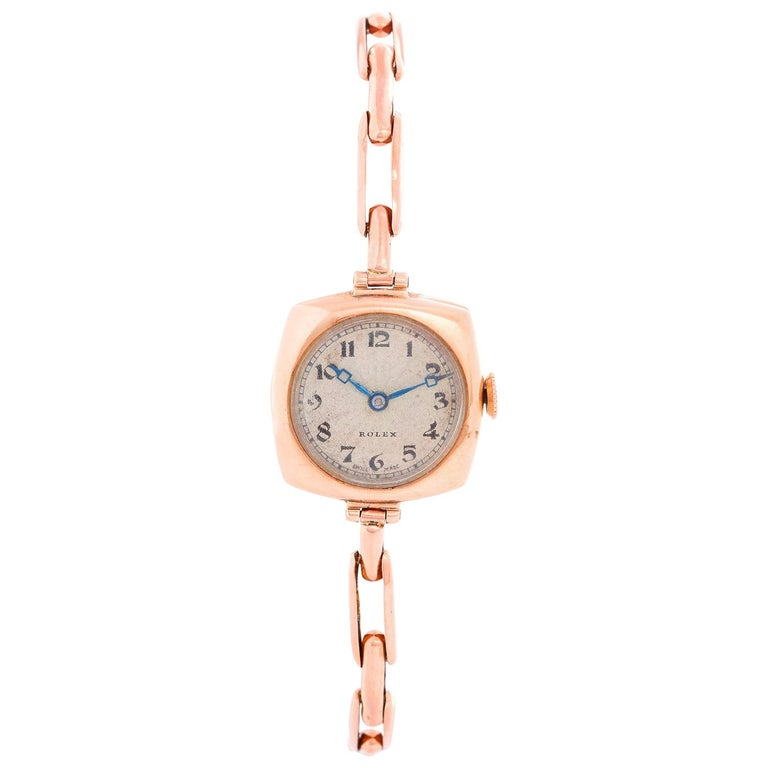 Rolex Cushion Shaped Oyster Rose Gold Watch For Sale