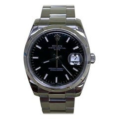 Rolex Date 115210 Black Dial Stainless Steel Box Papers, 2011