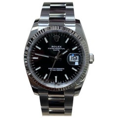 Rolex Date 115234 Black Dial Stainless Steel Box Papers, 2019