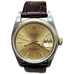 Rolex Date 1500 14 Karat Yellow Gold and Stainless Steel with Leather Band