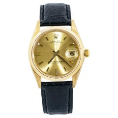Rolex Date 1500 18k Gold Automatic Champagne Dial Leather Band
