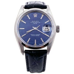 Rolex Date 1500 Blue Mosaic Dial Stainless Custom Black Leather Band