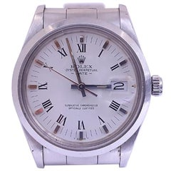 Rolex Date 15000, White Dial, Certified and Warranty