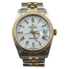 Rolex Date 15053 White Dial 18 Karat Yellow Gold Stainless Steel