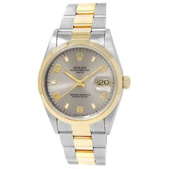 Rolex Date 15203, Grey Dial, Certified and Warranty