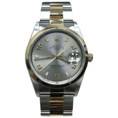 Rolex Date 15203 Silver Dial 18 Karat Yellow Gold and Stainless Steel