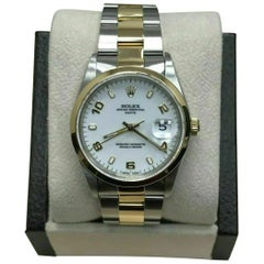 Rolex Date 15203 White Dial 18 Karat Yellow Gold and Stainless Steel Box Papers