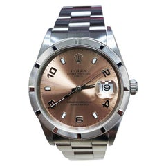 Rolex Date 15210 Pink Dial Stainless Steel Engine Turned Bezel