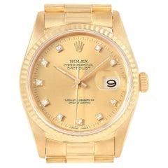 Rolex Date 18 Karat Yellow Gold Diamond Dial Automatic Men's Watch 16238
