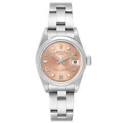 Rolex Date 26 Salmon Dial Domed Bezel Steel Ladies Watch 79160