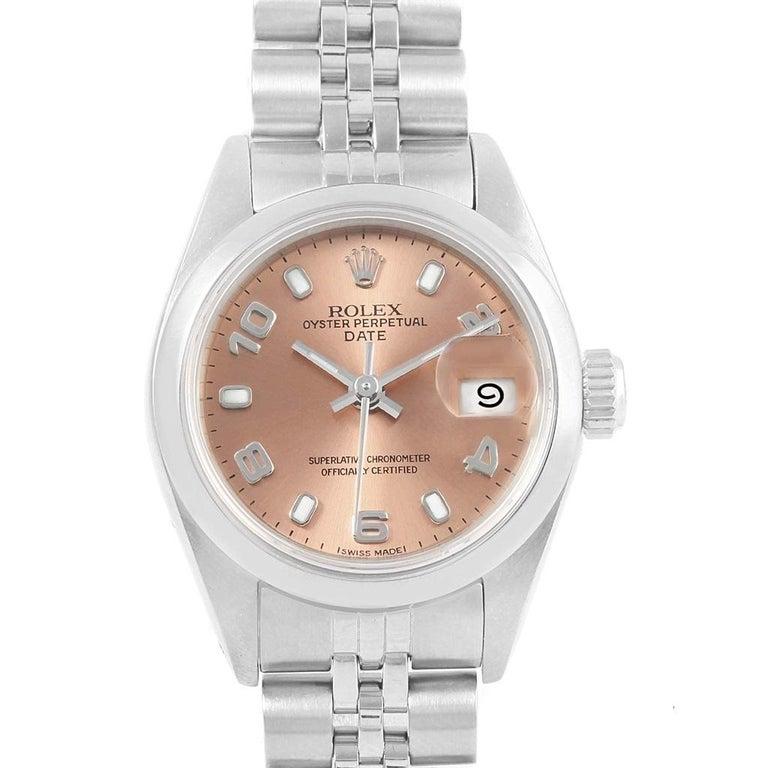42959da45663b Rolex Date 26 Salmon Dial Jubilee Bracelet Steel Ladies Watch 79160 In  Excellent Condition For Sale