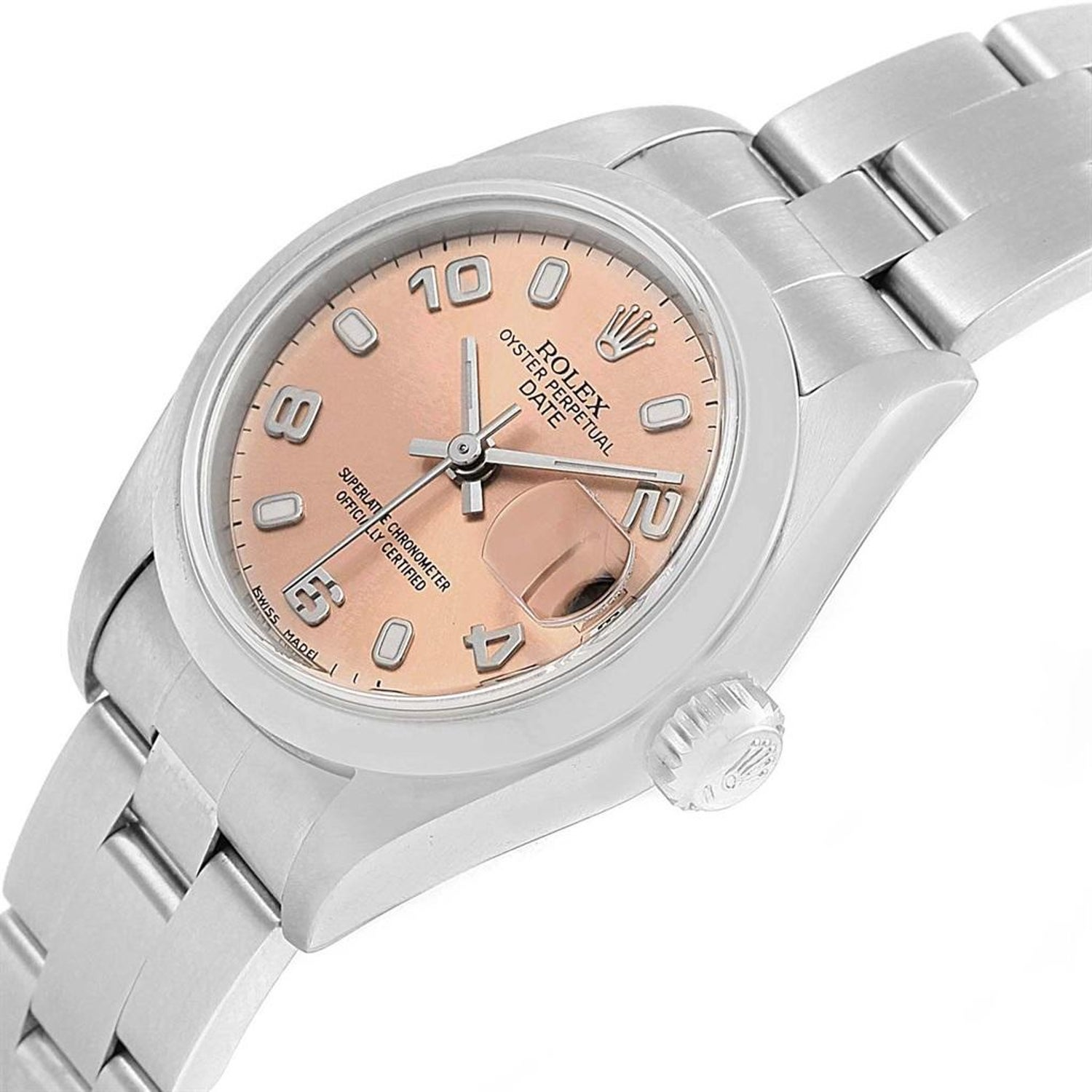 c31a991c0d3 Rolex Date 26 Salmon Dial Oyster Bracelet Steel Ladies Watch 79160 For Sale  at 1stdibs