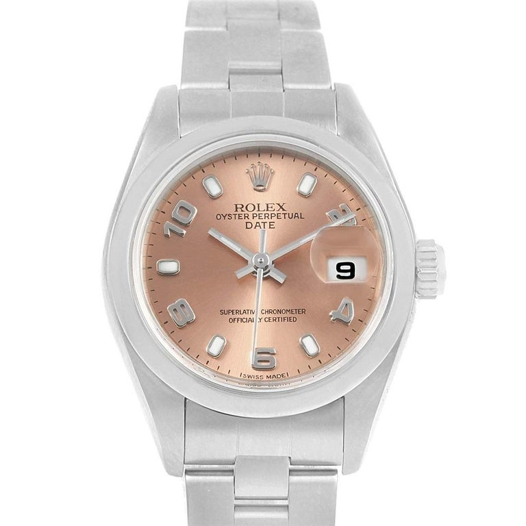 c4f58e58a19 Rolex Date 26 Salmon Dial Oyster Bracelet Steel Ladies Watch 79160 In  Excellent Condition For Sale