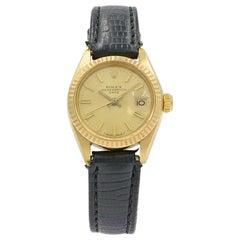 Rolex Date 6917 18 Karat Gold Champagne Sticks Dial Automatic Ladies Watch