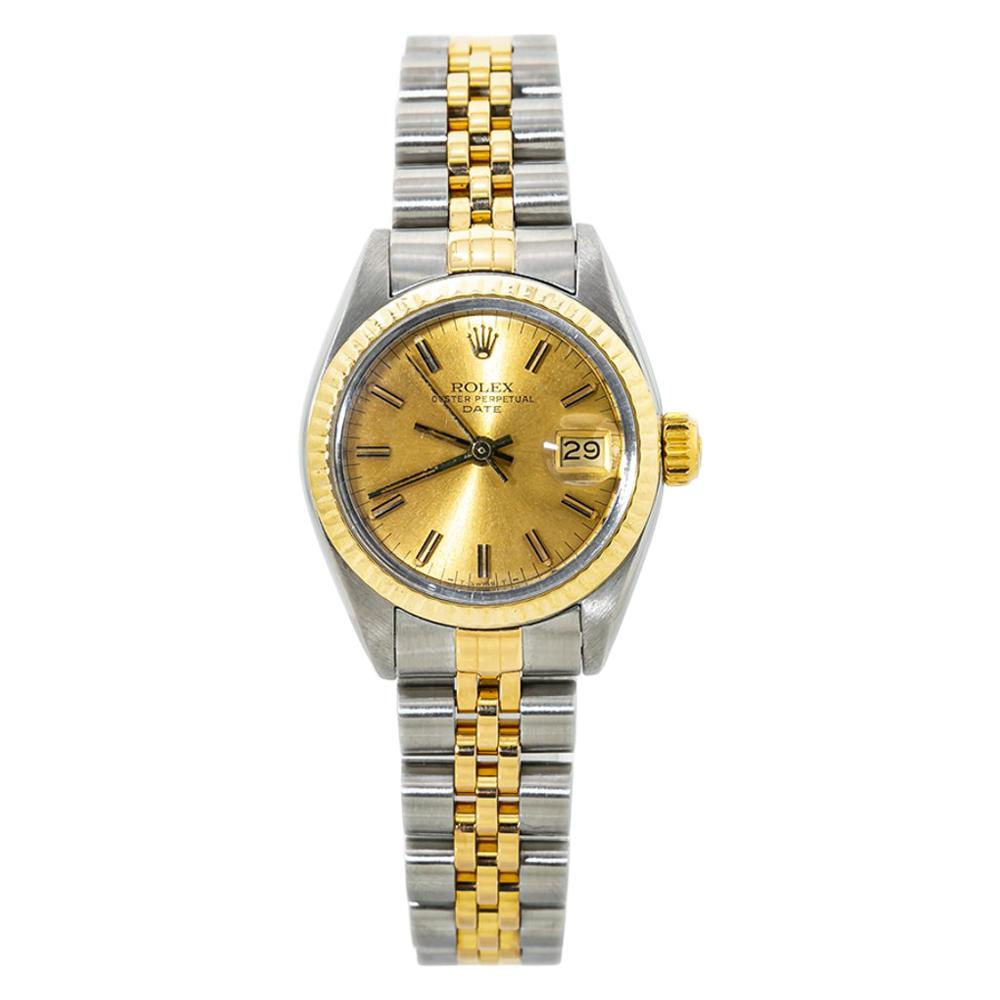 Rolex Date 6917 18K Two Tone Lady's Automatic Watch Champagne Dial