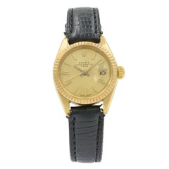 Rolex Date 6917 18K Yellow Gold Champagne Sticks Dial Automatic Ladies Watch