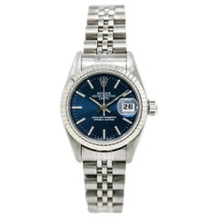 Rolex Date 69240 Women's Automatic Watch Stainless Steel Blue Dial