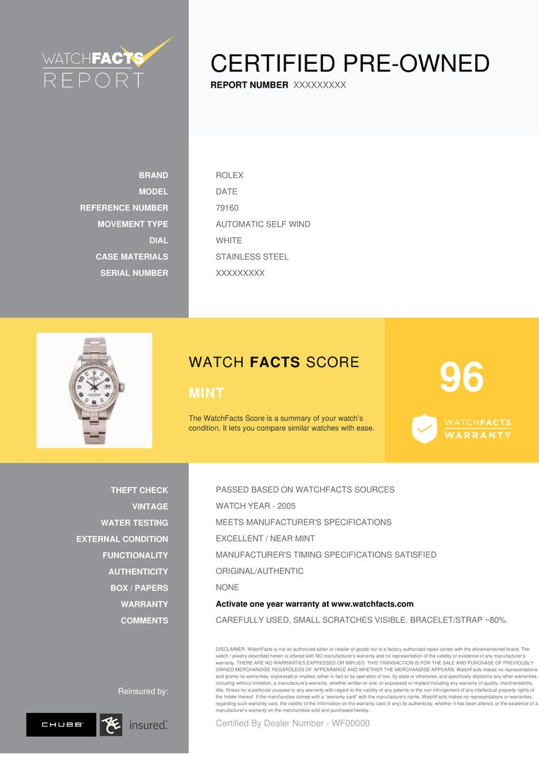 Rolex Date Reference #: 79160. Womens Automatic Self Wind Watch Stainless Steel White 26 MM. Verified and Certified by WatchFacts. 1 year warranty offered by WatchFacts.