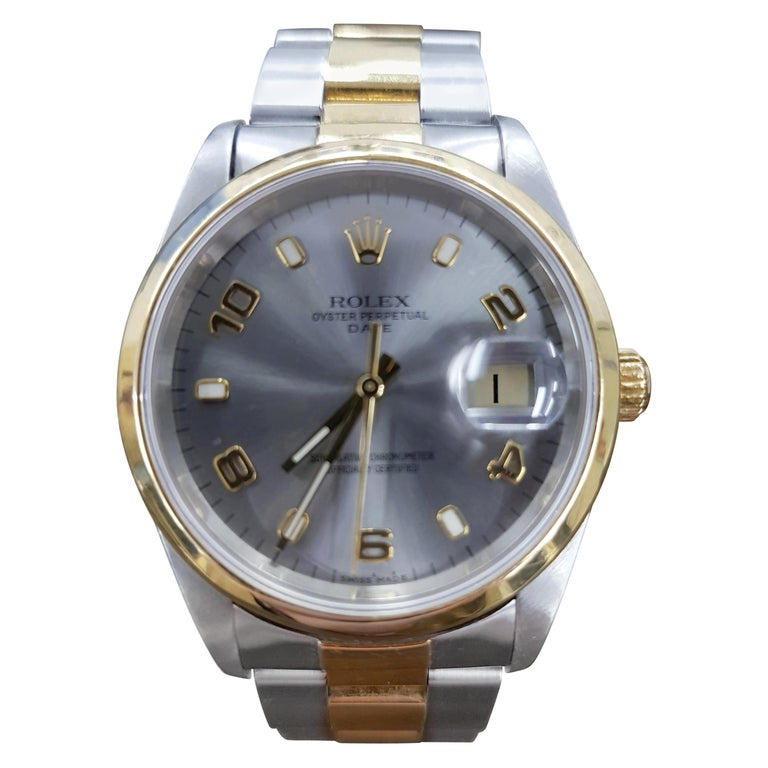 Rolex Date, Bi-Metal, Model Number 15203, Registered, 2000 For Sale
