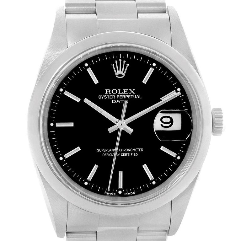 68d6b7261573 Rolex Date Black Dial Oyster Bracelet Mens Watch 15200 Box Papers.  Officially certified chronometer automatic