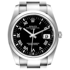 Rolex Date Black Dial Oyster Bracelet Steel Mens Watch 115200