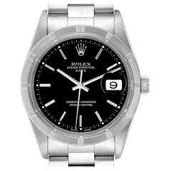 Rolex Date Black Dial Oyster Bracelet Steel Men's Watch 15210