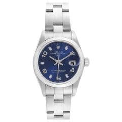 Rolex Date Blue Dial Domed Bezel Steel Ladies Watch 79160
