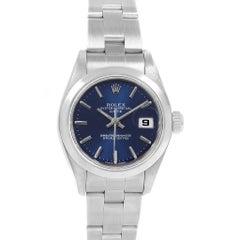 Rolex Date Blue Dial Oyster Bracelet Steel Ladies Watch 79160