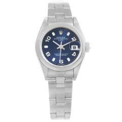 Rolex Date Blue Dial Oyster Bracelet Steel Ladies Watch 79240