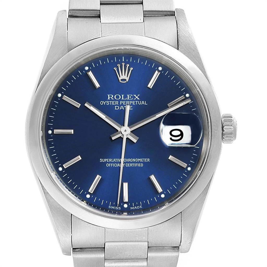 Rolex Date Blue Dial Oyster Bracelet Steel Men\u2019s Watch 15200