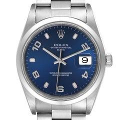 Rolex Date Blue Dial Oyster Bracelet Steel Mens Watch 15200