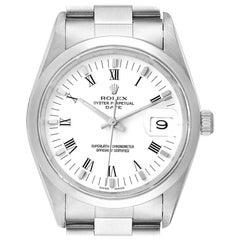 Rolex Date Domed Bezel Oyster Bracelet Steel Men's Watch 15200 Box