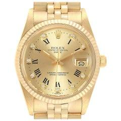 Rolex Date Men's 14 Karat Yellow Gold Diamond Vintage Men's Watch 15037