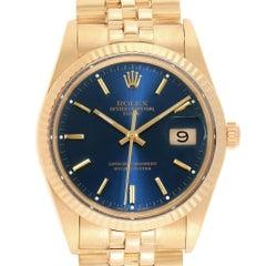 Rolex Date Men's 14 Karat Yellow Gold Blue Dial Vintage Men's Watch 15037