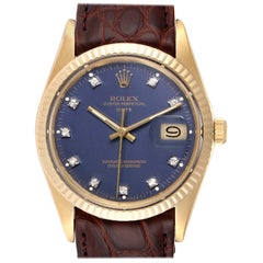 Rolex Date Men's Blue Diamond Dial Yellow Gold Vintage Men's Watch 15037