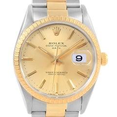Rolex Date Men's Steel 18 Karat Yellow Gold Baton Dial Men's Watch 15223