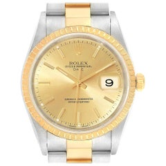 Rolex Date Men's Steel Yellow Gold Men's Watch 15223 Box Papers