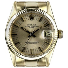 Rolex Date Mid-Size Vintage Gents 18 Karat Yellow Gold Champagne Dial 6827